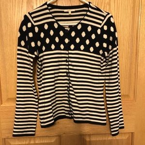 MYSTREE cardigan anthropology navy dot/stripe M